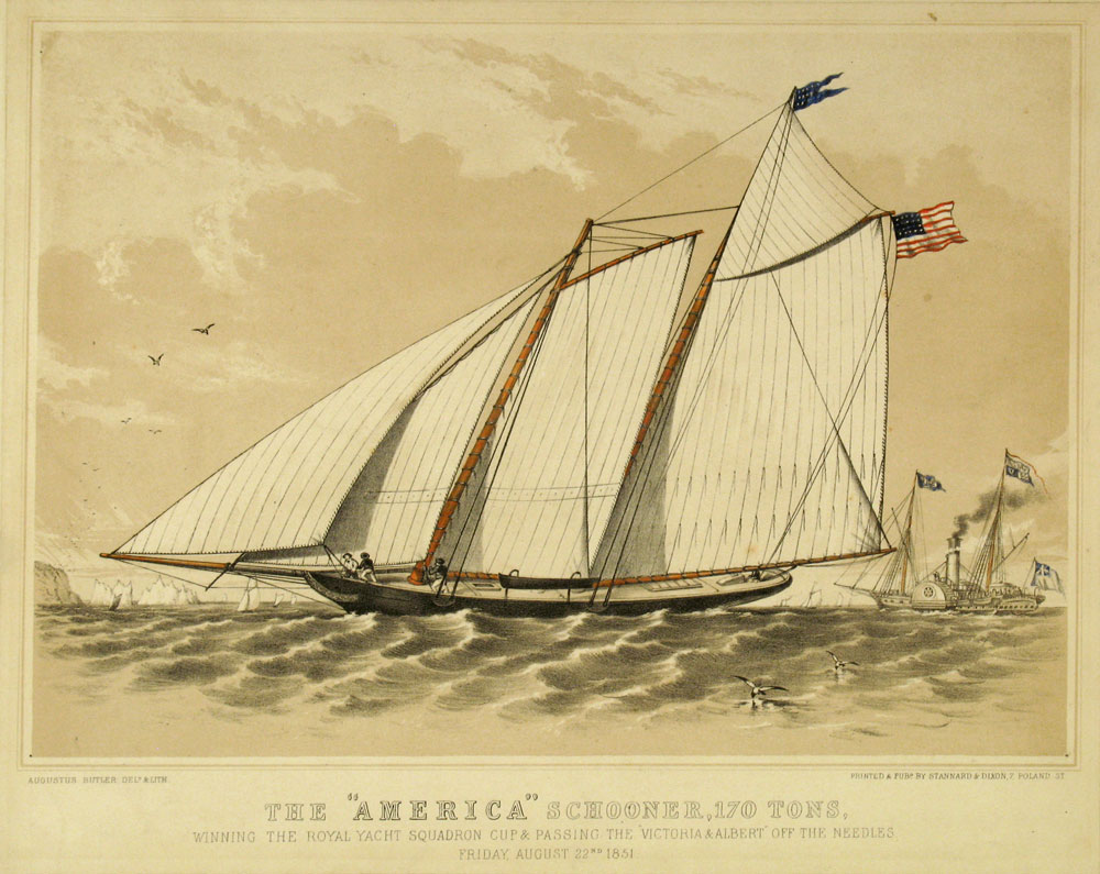 The America Schooner winner of the Royal Yacht Squadron Cup in 1851